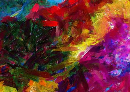 Fond d'huile de peinture abstraite à la mode. Impression d'art mural à vendre. Modèle créatif de conception graphique. Texture faite à la main très colorée et lumineuse. Dessin impressionniste sur toile. Stocker. Fond d'écran unique.