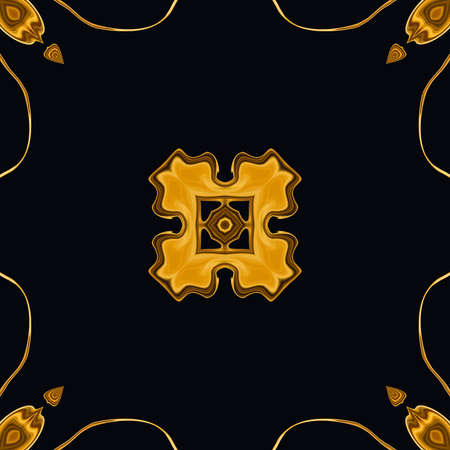 Creative golden graphic painting pattern with oil imitation effect. Luxury background for creating rich design cover, blank, web banner or card. Beautiful cool fractal art. Stock. Gold color artwork. 写真素材 - 122617681