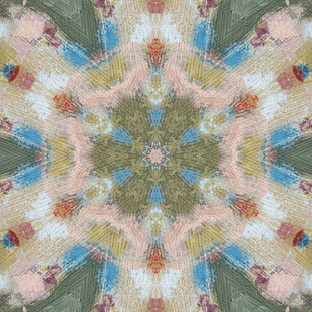 Digital art abstract pattern. Pastel colors modern style art print. Futuristic artwork. Contemporary painting wall decor. Watercolor on paper. Brushstrokes of paint in warm colors. Psychedelic design.