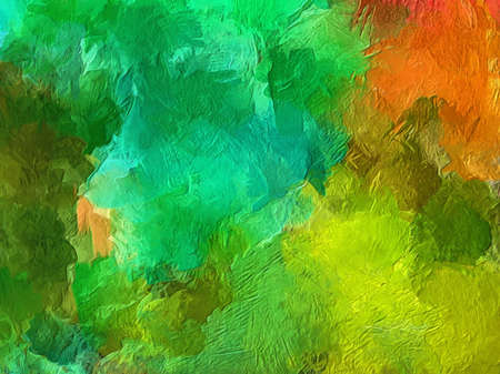 Stampa a olio per decorazioni murali. Disegno di astrazione in raffinato stile contemporaneo come schizzi di espressionismo su tela. Motivo di sfondo di design originale fatto a mano per la produzione creativa. Archivio Fotografico