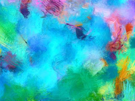 Kunstwerk im naiven Stil des Impressionismus Ölgemälde auf Leinwand. Abstraktes Muster mit Expressionismuselementen. Glückliche Farben heller Wandkunstdruck als Postervorlage. Dekor Idee. Mode moderner Hintergrund