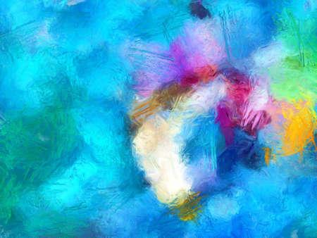 Ölpastellzeichnung. Abstrakter Farbhintergrund. Kunstdruck. Abstraktion im Impressionismus-Stil. Moderne Surrealismus-Malerei. Gut als Wanddekorationsposter. Lager. Surreales Design. Handgemachte Textur-Vorlage.