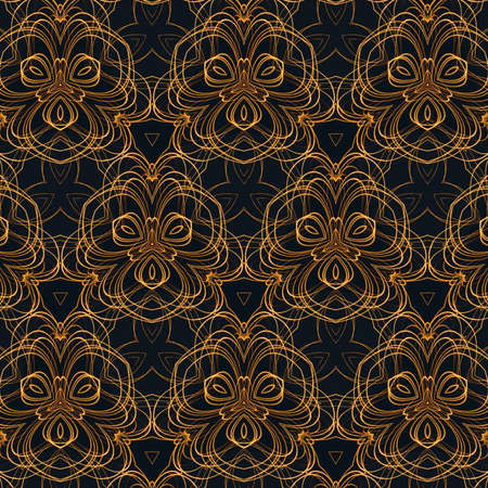 Liquid gold imitation design pattern. Real golden color abstract fractal art. Creative background in asian or arabic style. Rich luxury wallpaper. Wall decor print template.