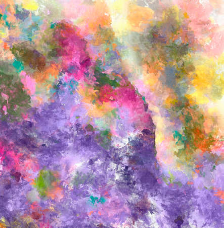 Oil painting style texture background. Hand drawn abstraction on canvas. Multicolor spots. Acrylic fine art.