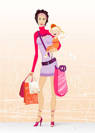 upbringing: young mother holding her daughter and bags after shopping