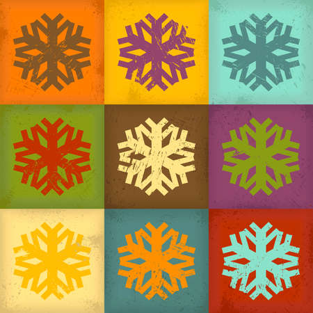 Retro background with colorful snowflakes Vector