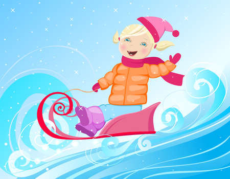 little girl are sledging through the snow Vector