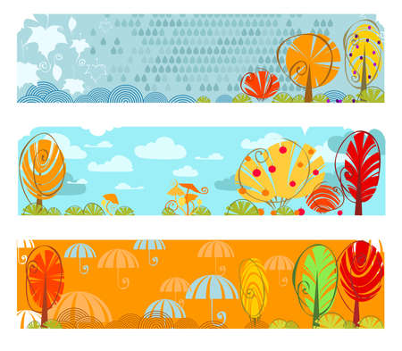 three abstract horizontal autumn banners Vector