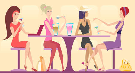 four friends sitting around the table and heaving good time Stock Vector - 4030307