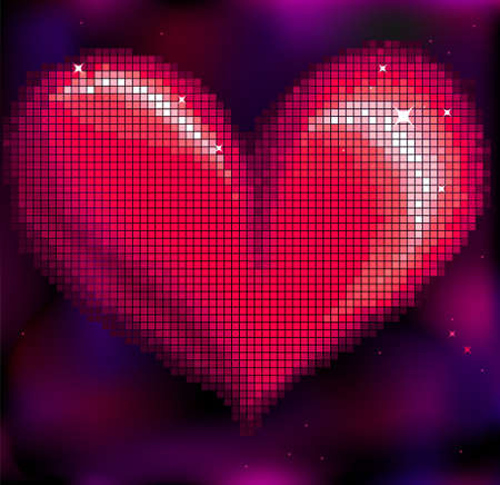 bright pink mosaic heart on dark background Vector