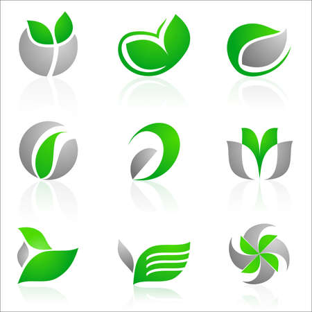 vector set of 12 floral logos in green and gray color Stock Vector - 4325315