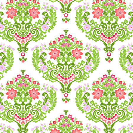seamless damask: Sin fisuras Damask floral patr�n. Ilustraci�n vectorial.