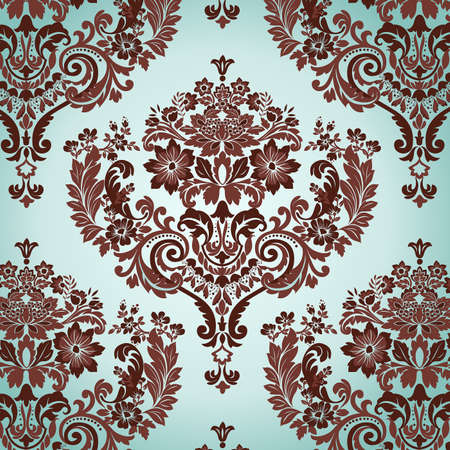 damask: Seamless Damask floral background pattern. Vector illustration. Illustration