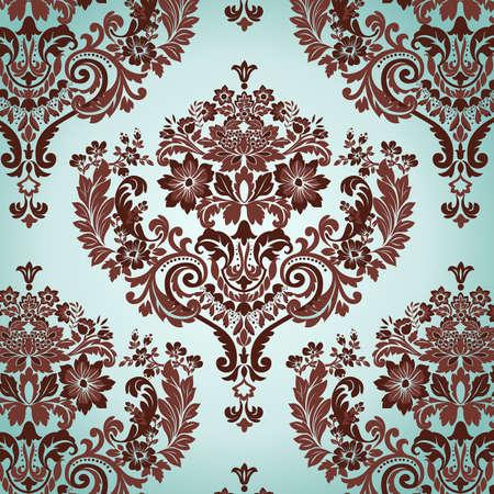seamless damask: Sin fisuras Damask floral fondo. Ilustraci�n vectorial.