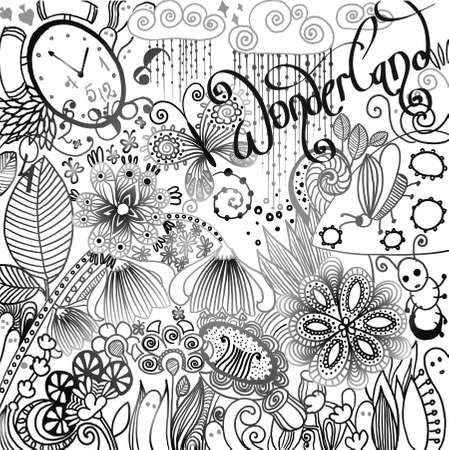 floral background pattern. Vector illustration of wonderland. Vector
