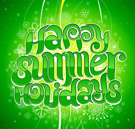 happy summer holiday greeting inscription in vector Stock Vector - 4739914