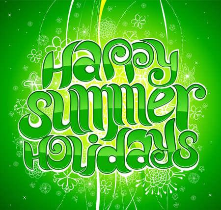 happy summer holiday greeting inscription in vector Vector