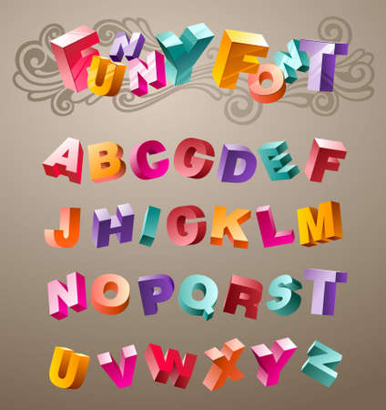 disorderly: bright funny font design alphabet. in vector
