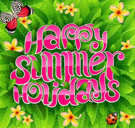 happy summer holiday greeting inscription in vector Stock Vector - 4780407