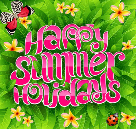 happy summer holiday greeting inscription in vector Stock Vector - 4780407