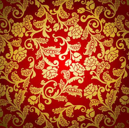 Seamless Damask floral background pattern. Vector illustration. Illustration
