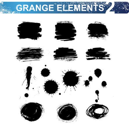 grunge blots and brush strokes. Vector illustration. Vector