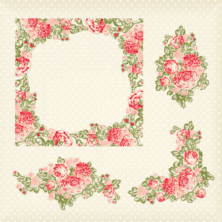 leaves vector: old vintage roses pattern, frame and elementa