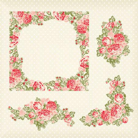 vector clipart: old vintage roses pattern, frame and elementa