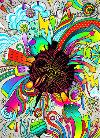 abnormal: colorfull vector illustration, a lot of graphic elements