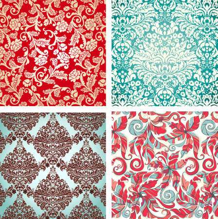 set of seamless floral background pattern. Vector illustration. Stock Vector - 5239838