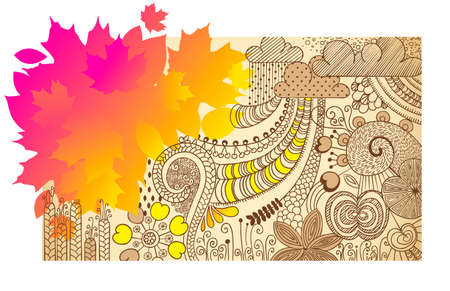 autumn handdrawn vector banner with floral elements Vector