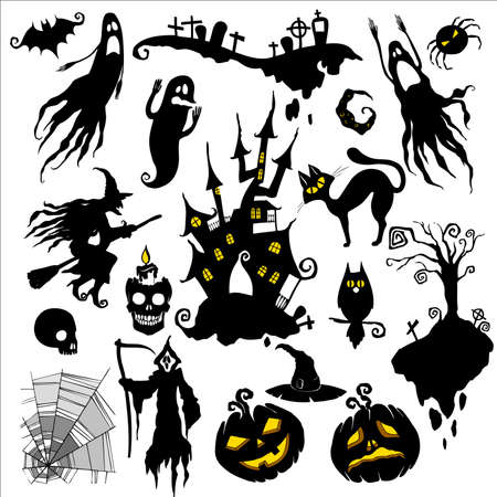 gravestone: set of vector illustrations. halloween scary theme Illustration