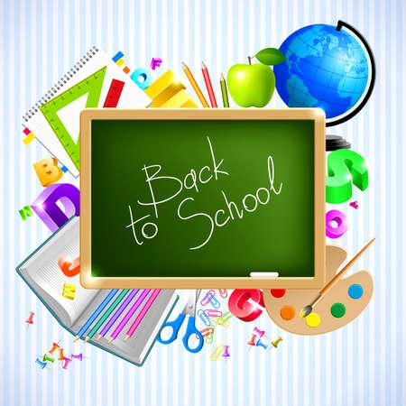 przybory szkolne: Wróć do szkoły tła  Ilustracja