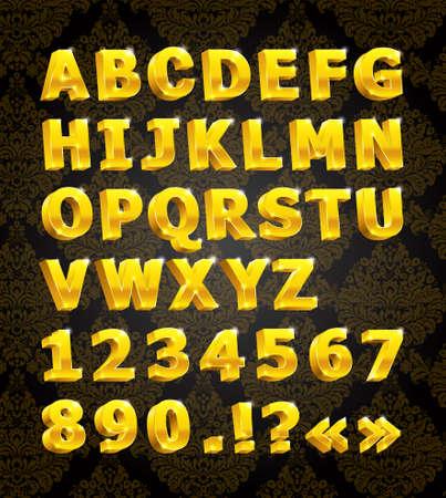 golden 3d font Stock Vector - 7744763