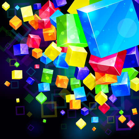 parallelepiped: 3d bright abstract background -  illustration Illustration