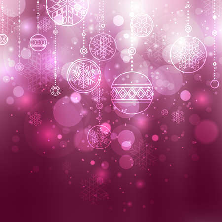 christmas backdrop: shining lilac christmas background with baubles and snowflakes Illustration