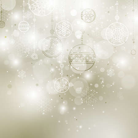 shining christmas background with baubles and snowflakes Vector