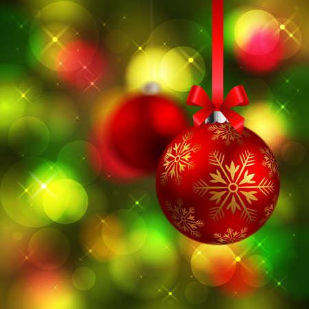 fond de texte: Noël brille boules rouges sur fond vert sapin