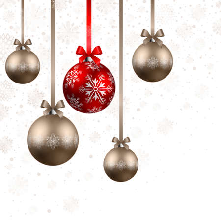 fizz: christmas shining red and bronze baubles on white background Illustration
