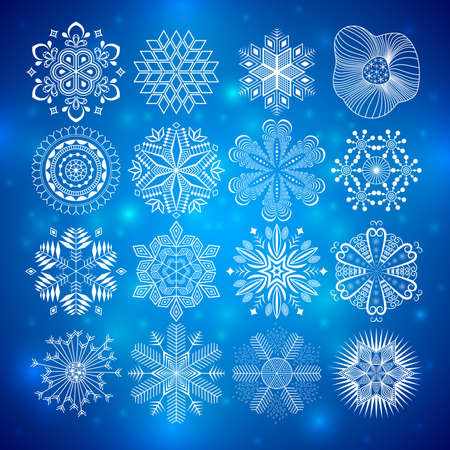 fayer: snowflakes collection on blue background.  Illustration