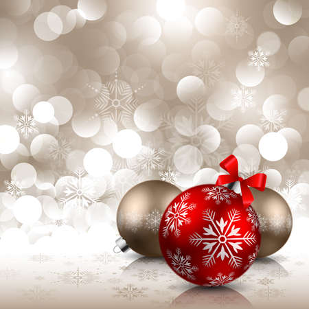 holiday background: christmas red and bronze baubles on shining background