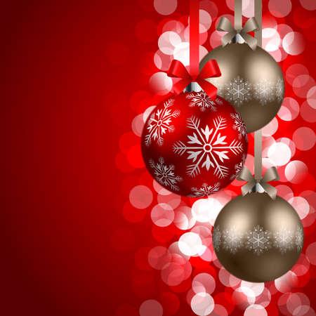 boules de rouge et de bronze de Noël sur fond rouge de briller