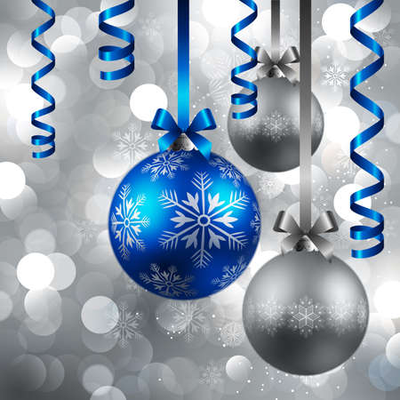 blue christmas background: christmas blue and silver baubles on shining silver background
