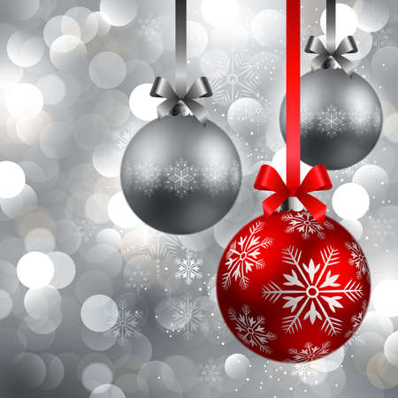 flakes: christmas red and silver baubles on shining silver background Illustration