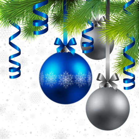 christmas background with fir, blue and silver baubles Vector