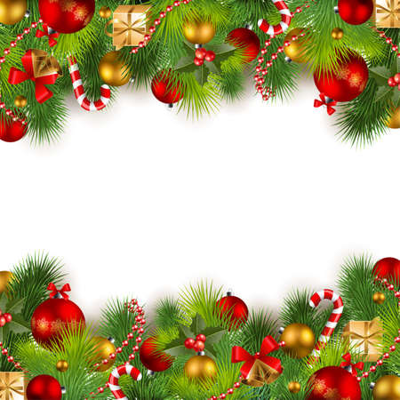 christmas background with red and golden baubles and christmas tree Векторная Иллюстрация