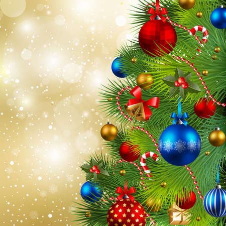 baubles: christmas background with red, golden and blue baubles on christmas tree Illustration