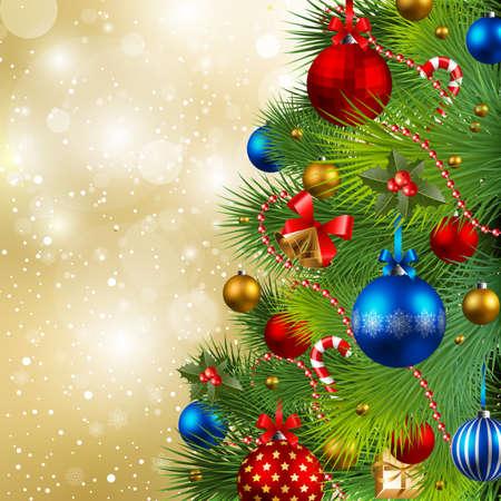 bell bronze bell: Fondo de Navidad con piedras rojos, oro y azules en �rboles de Navidad