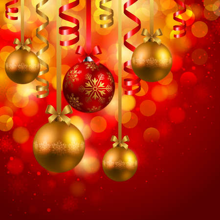 christmas background with red and golden baubles Vector