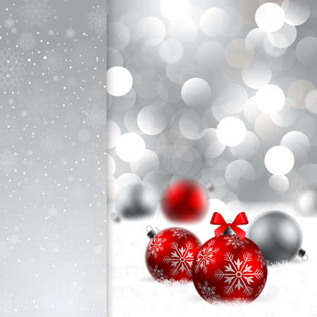 christmas background with baubles and place for text Vector